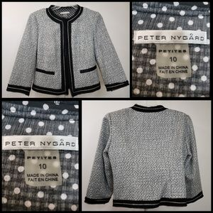 peter nygard woman blazer open front size 10